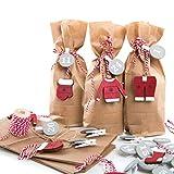 Calendrier de l'Avent avec pinces à chiffres de 1 à 24 et 25 petits sachets en papier kraft Rouge/marron/gris 10,7 x 22 x 4,2 cm avec étiquettes de Noël