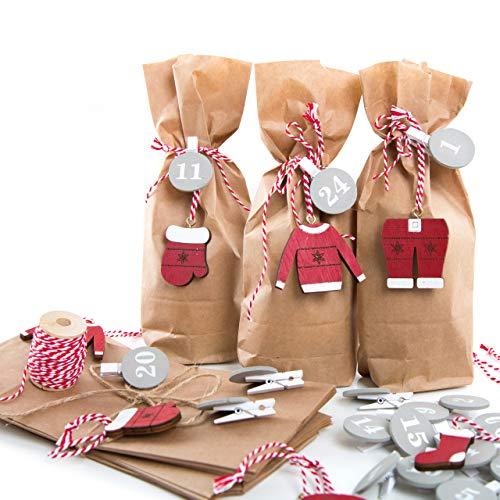 el-Set rot braun weiß grau mit Zahlenklammern von 1 bis 24 und 25 kleinen Mini Papiertüten Kraftpapier 10,7 x 22 x 4,2 cm mit Weihnachtsmann Weihnachtsanhängern Christbaumanhänger ()