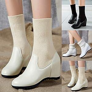 Floweworld Damenstiefeletten Wintermode Einfarbig Slip-On Keilstiefel Runde Kappe Mittelrohr Socken Stiefel Warm halten…