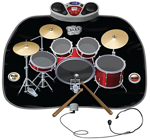 CHILDRENS / KIDS DRUM KIT SET PLAYMAT PLAY MAT INCLUDES HEADPHONES WITH MIC & DRUM STICKS MP3 / CD Amplifier - TOUCH SENSITIVE, FOLDABLE, AND PORTABLE. ELECTRONIC FLOOR MAT by Express trading