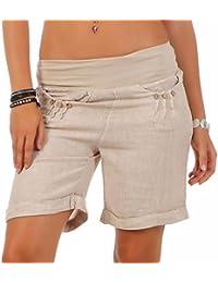 Malito Damen Bermuda aus Leinen | lässige Kurze Hose | Shorts für den Strand | Pants - Hotpants 6822