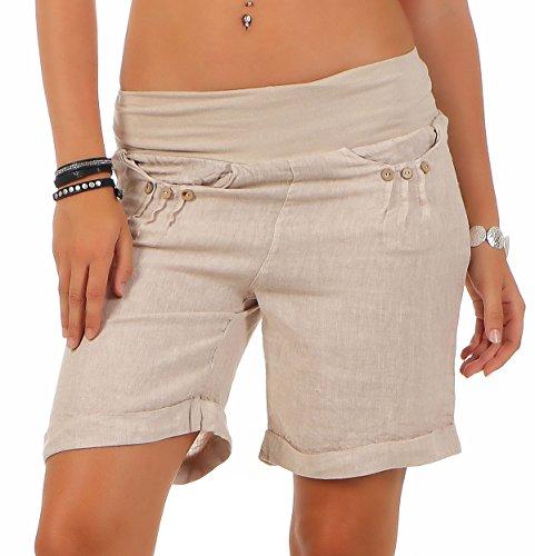 Malito Damen Bermuda aus Leinen | lässige Kurze Hose | Shorts für den Strand | Pants - Hotpants 6822 (beige, M) - Strand Bermuda Shorts