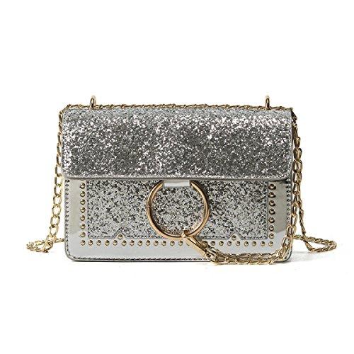 KYFW Womens Schlagen Farbe Kleine Quadratische Paket-Art- Und Weisebeiläufige Handtaschen-wilde Schulter-Beutel-Kurier-Beutel A