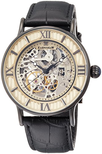 Thomas Earnshaw Men's 'DARWIN' Automatic Stainless Steel and Leather Dress Watch, Color Black (Model: ES-8038-05)