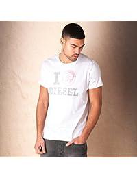 T-shirt Diesel T-I Love pour homme en blanc