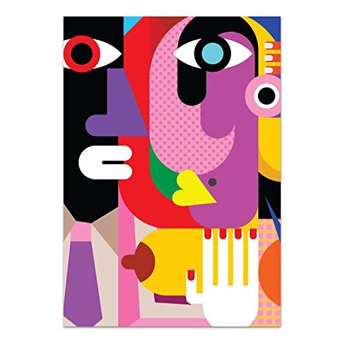 DekoGlas Glasbild 'Kubistisches Porträt' Echtglas Bild Küche, Wandbild Flur Bilder Wohnzimmer Wanddeko, einteilig 70x100 cm -