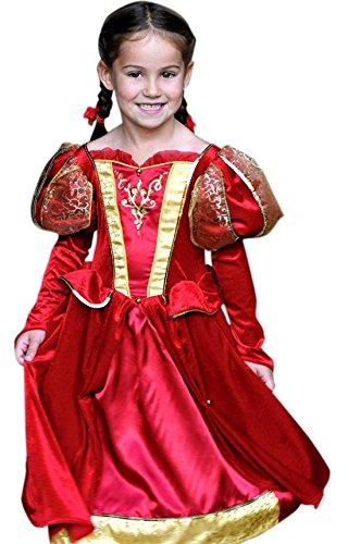 erdbeerloft - Mädchen Karneval Komplett Kostüm Kleid Medieval Queen , Rot, Größe 116-128, 6-8 (Kostüme Viktorianische Puppe Mädchen)