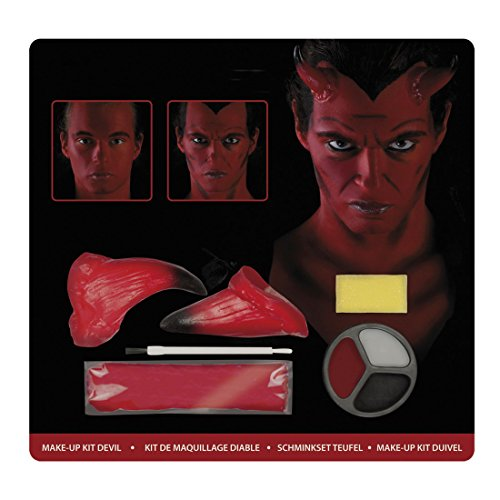 m Schminkset Teufel Devil, Rot (Halloween Verbrannten Gesichts-make-up)