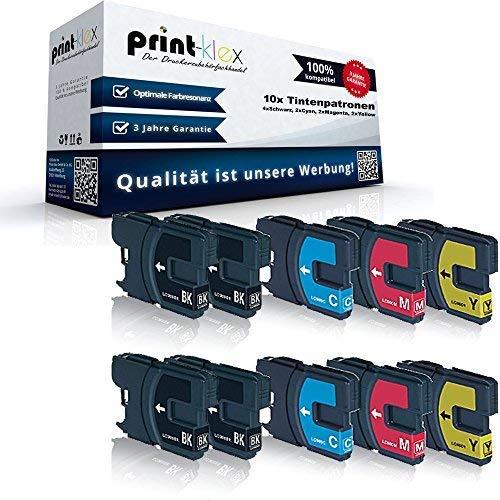 10x Kompatible Tintenpatronen Sparset für Brother DCP145 C DCP163 C DCP165 C DCP167 C DCP195 C DCP197 C LC980BK LC980C LC980M LC980Y - 4x Black, 2x Cyan, 2x Magenta, 2x Yellow