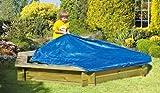 Sand-Kasten aus Holz mit einem Durchmesser von 180 cm mit Abdeckung aus PE-Gewebe, blau