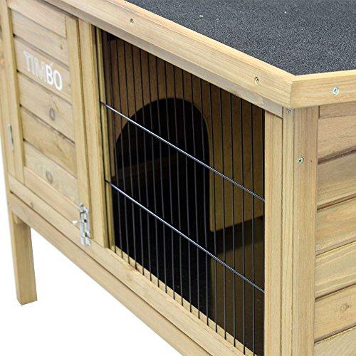 Hasenstall / Kaninchenstall STELLA aus massivem Tannen-Holz in 92x45x70 cm – Kleintier-Stall für Draußen – Wetterfester Schutz & Rückzugsort für Hase & Kaninchen im Winter & Sommer – TIMBO - 6