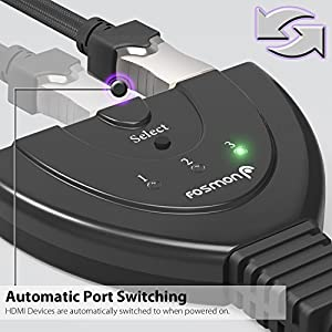 Fosmon 3 Port Premium Quality HDMI Switch with Pigtail Cable