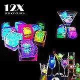 Dreamhigh 12 Stück LED Eiswürfel Non Toxic Wasser Dekorative LED-Flüssigkeitssensor für Party-Hochzeit-Club-Bar