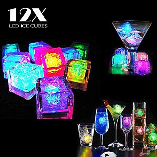 Preisvergleich Produktbild Dreamhigh 12 Stück LED Eiswürfel Non Toxic Wasser Dekorative LED-Flüssigkeitssensor für Party-Hochzeit-Club-Bar