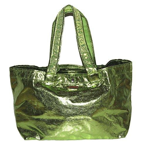 brasi&brasi Shopper Tasche grün metallic Strandtasche (Shopper Verziert)