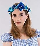 SIX'Blumen' Haarkranz, Haarschmuck, mit großen Blumen Blüten in Türkis, Blau und Weiß für zB. Oktoberfest oder Junggesellenabschied (456-180)