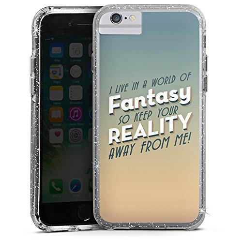 Apple iPhone 6 Bumper Hülle Bumper Case Glitzer Hülle Fantasy Fantasie Phrases Bumper Case Glitzer silber