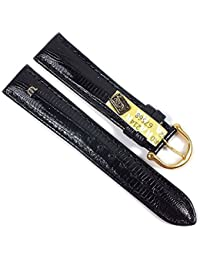 Maurice Lacroix Replacement Band Watch Band genuine Teju-lizard-Leather black leather 21547G, width:15mm