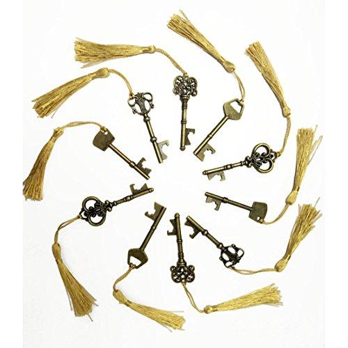 makhry Mixed 15scheletro a forma di chiave apribottiglie con nappe sikly per classico rustico Wedding Decoration