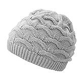 4Sold cappello invernale di lana lavorato a maglia, berretto in pile per snowboard o sci, da donna Light Gray Taglia unica