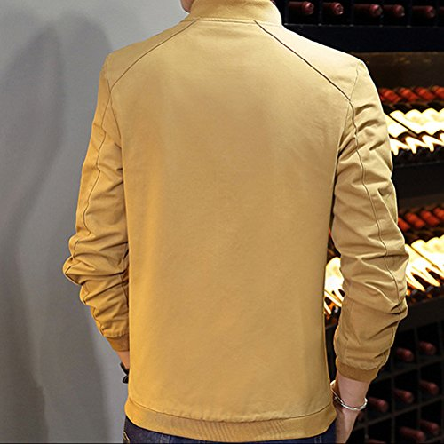 Zhhlaixing Classique Men's Casual Long Sleeve Jackets Outerwear Zipper Thin Slim Fit Coats yellow