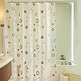 Duschvorhang 180X200 Anti-Schimmel Wasserdicht, PEVA Anti-Bakteriell Badvorhang,Duschvorhänge Badewannenvorhang inkl. 12 Duschvorhangringe für Badezimmer,MildewProof WaterProof Shower Curtain,Printed braun Kreise entworfen
