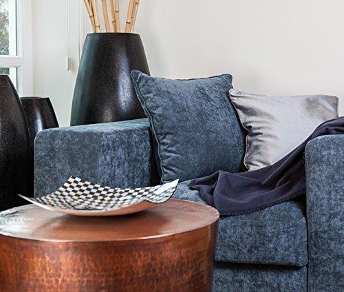 Stoff Sofa, Sofa Loveseat Sessel (Amaris Elements | 'Paul' Moderner XL Sessel inklusive 2 Kissen Samt aus Mikrofaser Samt-Optik blau grau Samtsessel Lounge-Sessel Sofa Love-Seat modern und bequem)
