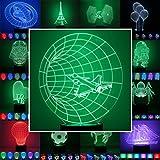 3D Lampe 3D Leuchte 3D LED Stimmungslicht. 7 verschiedene Farben wählbar - Auswahl aus 81 verschiedenen Motiven, hier Düsen-Jet ca.22x17cm inkl.Sockel - 3D Illusion Dekolicht mit USB Anschluß und 220V USB Netzteil