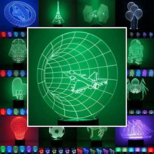 3D Lampe 3D Leuchte 3D LED Stimmungslicht. 7 Farben - Auswahl aus 81 verschiedenen Motiven,hier Düsen-Jet ca.22x17cm inkl.Sockel - 3D Illusion Dekolicht mit USB Anschluß und 220V USB Netzteil