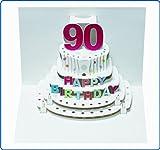 Pop Up 3D Karte Geburtstagskarte 90 Geburtstag Gutschein Torte 16x11cm