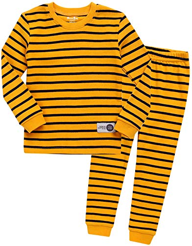 Kleinkind Jungen Langarm zweiteilig Schlafanzug Pajama 2pcs Set Color Pen Yellow L (Kleinkinder Disney Für Schlafanzug)