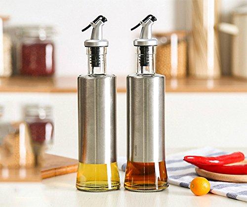 huavin 2pcs 300ml aceitera vinagrera botella de aceite (cristal y acero inoxidable