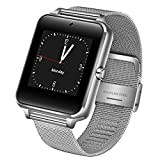 KWAOCYBR Nuevo Acero Inoxidable Bluetooth Smart Watch Mujeres Hombres Deporte Impermeable Smartwatch Color Led Pantalla táctil Reloj Soporte Sim TF, Plata