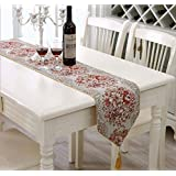 Classic Embroidery Tassel Dining Table Runners for Wedding and Party(98 inch, Red)