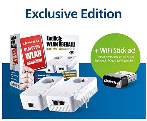 Devolo dLAN 1200+ WiFi ac Starter Kit + WiFi Stick ac Powerl...