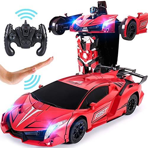 are Verformung Automodell Dual-Modus-Geste Sensing 360 ° Rotierende Dasher Drift Stunt Fahrzeugverformung Klang und Licht Manuelle Transformator Roboter Spielzeug Jungen Mädchen Ur ()