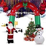 Gonfiabile Arco Natalizio Con Babbo Natale E Pupazzo Di Neve Con Luci 240CM