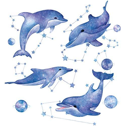 HCCY Autocollant Mural Poisson De Mer Bleu Dauphin Baleine Dessin Animé  Décoration De Chambre De Bébé