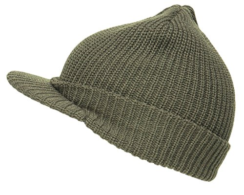 olive-us-army-style-cadet-peaked-jeep-cap-knitted-winter-peak-beanie-hat