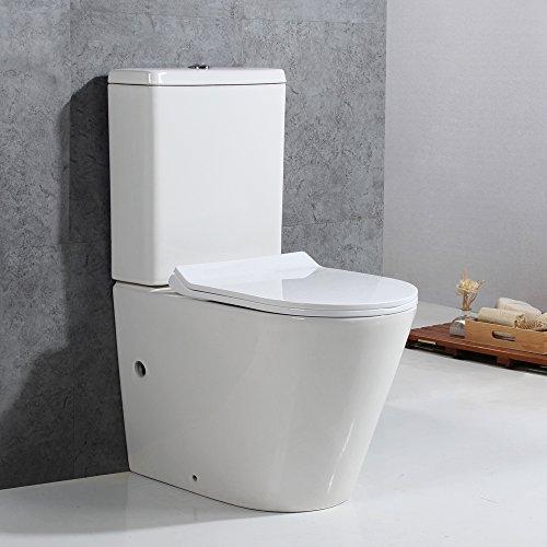Preisvergleich Produktbild Basong Stand-WC Toilette Tiefspüler Kombination mit Spülkasten Absenkautomatik