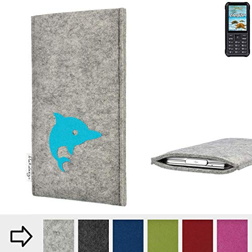 flat.design für Energizer H20 Handy Schutzhülle FARO mit Delphin - Smartphone Schutz Case Etui Made in Germany in hellgrau türkis - handgefertigte Handy-Tasche für Energizer H20