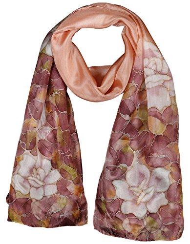 Invisible World Foulard Seta da Donna 100% con Rosa y Fiori Lunga Dipinta Mano per Collo Testa o Capelli Rosa
