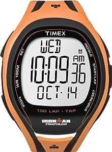 Timex -T5K254SU - Ironman Sleek 150 Lap Tapscreen- Quartz Digitale Homme - 150 Mémoires - 3 X16 intervalles programmables - Bracelet en résine respirante orange