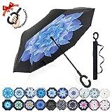 Reversion Regenschirm, Innovative Schirme Double Layer Winddicht Regenschirm Freie Hand Taschenschirm inverted Stockschirme mit C Griff für Reisen und Auto Outdoor di ZOMAKE (Blaue Magnolie)