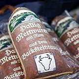 Hallig Mettwurst mit Rum   deftige Mettwurst im Leinendarm geräuchert   einzigartiges, deftiges Aroma und ausgezeichneter Geschmack   Mettwurst in dekorativer Verpackung vom Traditionsschlachter