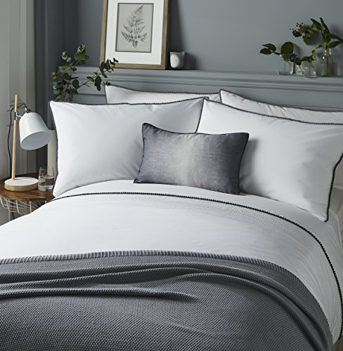 Serene - Pom Pom - Pintucks Horizontal Rows Duvet Cover Set - Double, Grey Best Price and Cheapest