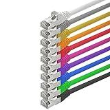 1aTTack CAT5 SFTP Folien und Geflechtgeschirmt Netzwerk Patch Kabel mit 2 x RJ45 Stecker Set (10 Farben, 10 Stück) 3m