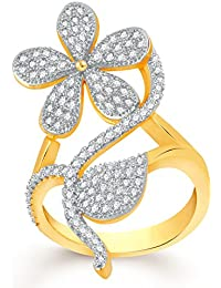 VK Jewels Flower Gold And Rhodium Plated Alloy CZ American Diamond Adjustable Ring For Women [VKFR2784G]