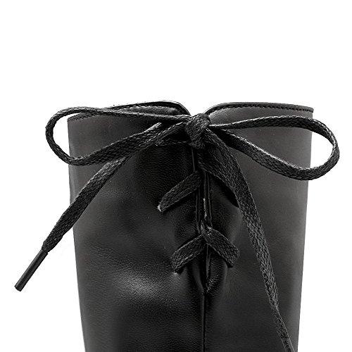 Voguezone009 Femmes Bout Rond Pur Talon Moyen Hauteur De Bottes Noires Épaisses