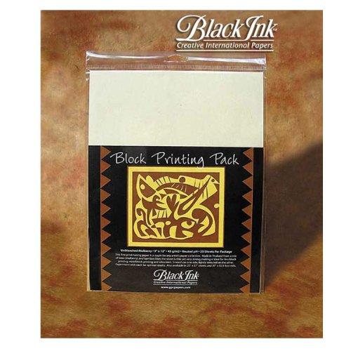Black Ink - Druckpapier fuer Linol- oder Holzdrucke - 25 Blatt - Ungebleicht